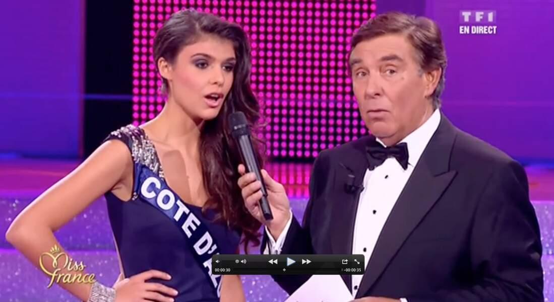 Jean-Pierre Foucault décontenancé par Miss Côte d'Azur lors de l'élection de Miss France 2013