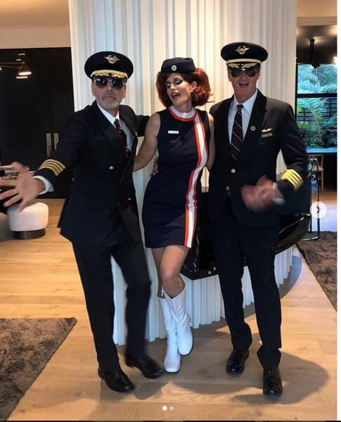 George Clooney, Cindy Crawford et Rande Gerber en pilotes et hôtesse de l'air