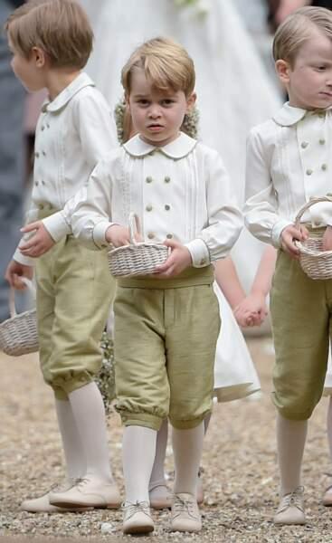 En mai 2017, George est enfant d'honneur au mariage de sa tante Pippa, la soeur de Kate Middleton