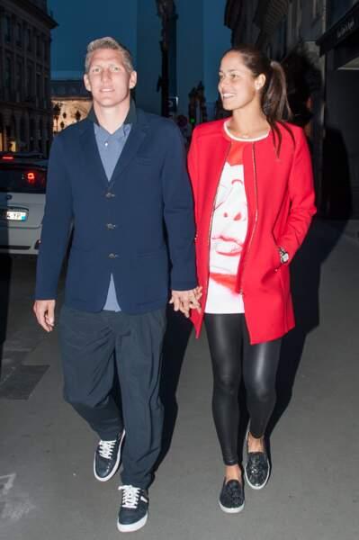 Ana Ivanovic et son champion Bastian Schweinsteiger, en virée à Paris