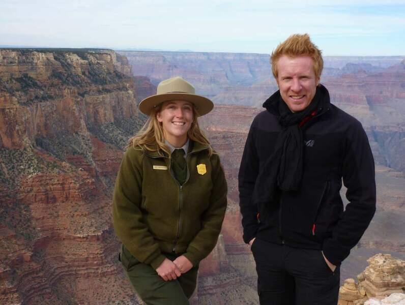 Jérôme Pitorin, le troisième trublion d'Echappées belles, profite lui aussi. Ici, au Grand Canyon...