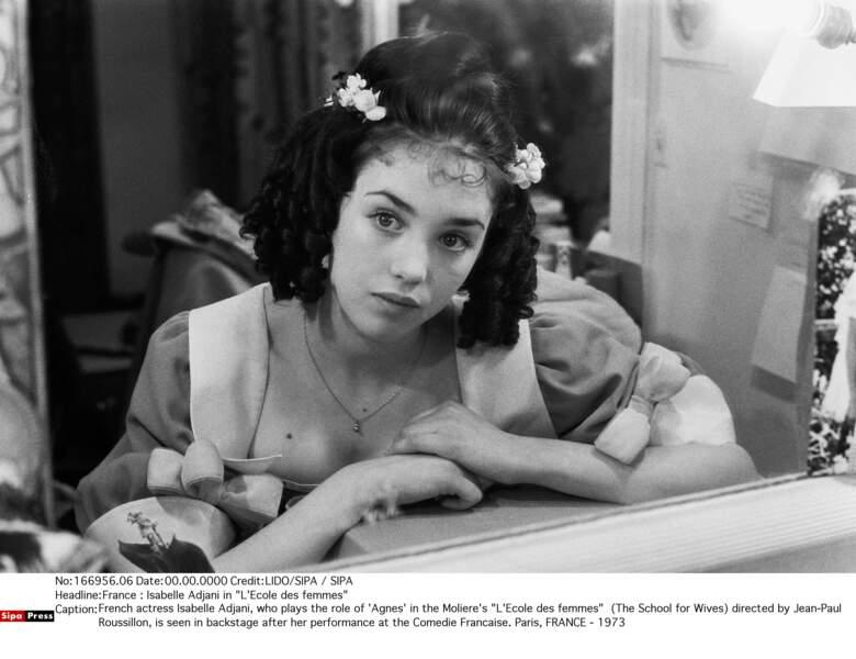 Dans sa loge de la Comédie Française, pour L'Ecole des femmes en 1973