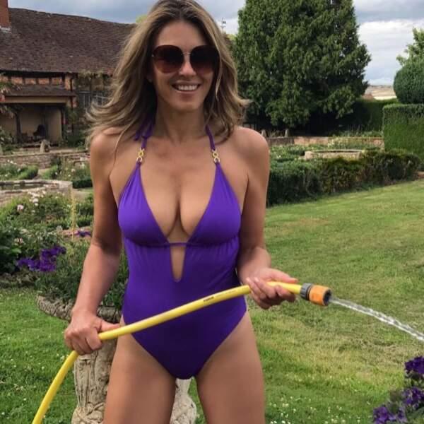 Presque aussi sexy que Liz Hurley qui fait du jardinage en maillot de bain.