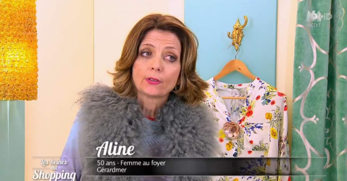 Voici Aline : une candidate des Reines du shopping qui aime ce qui ressemble à de la fourrure grise...
