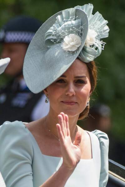Kate Middleton en robe bleu pastel
