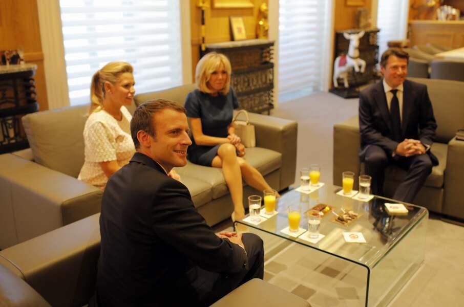 Les couples Macron et Estrosi à l'apéro