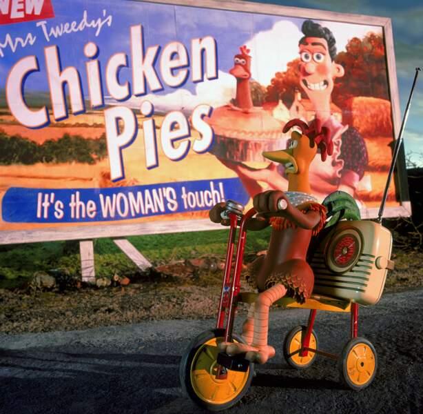 La tarte au poulet à la cote, ce qui n'est pas du goût de Rocky et Ginger (Chicken Run)