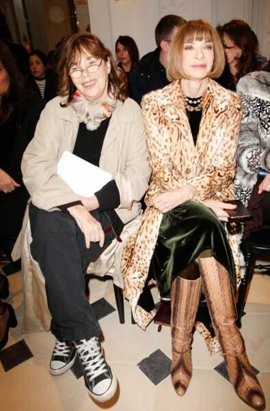 Jane Birkin et Anna Wintour, papesse de la mode, chez Saint Laurent