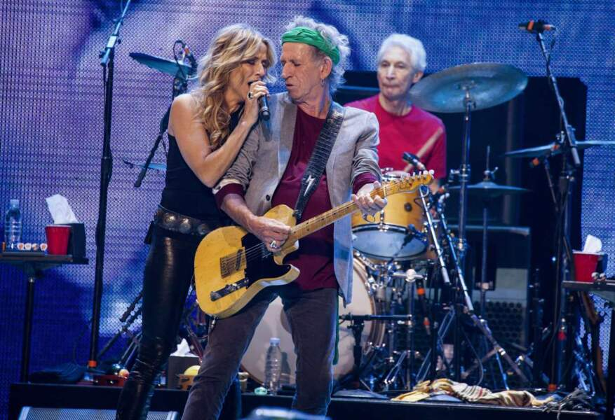 Keith Richards et Charlie Watts des Rolling Stones avec Sheryl Crow à Chicago le 31 mai 2013
