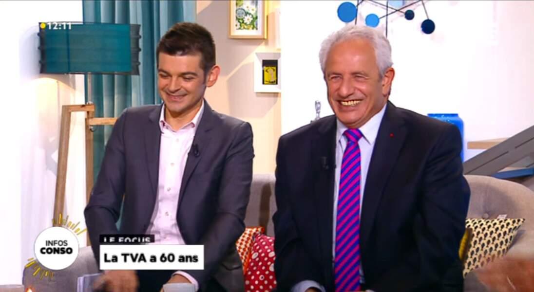 """Dans la catégorie """"j'ai osé la cravate"""" : Gérard Michel (à droite), fluo rayé fluo"""