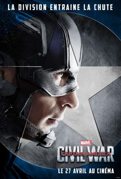 Steve Rogers alias Captain America, chef de file de la première team (incarné par Chris Evans)