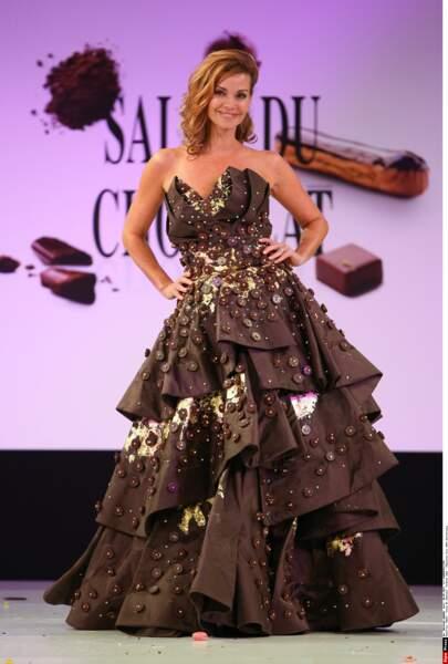 Robe ultra-chocolatée pour Ingrid Chauvin au Salon du Chocolat 2014