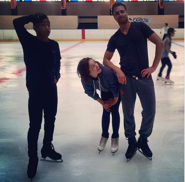 Nathalie Péchalat sur la glace... Mais non, il faut reprendre l'entraînement sur le parquet !