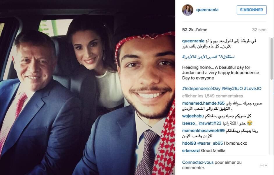 Jordanie : un petit selfie avec le roi Abdallah et la reine Rania, ses parents