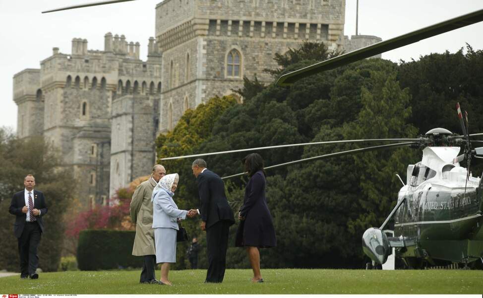 … où les attendaient la reine Elisabeth II et le prince Philip
