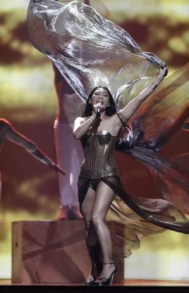Anggun, la représentante française, nous l'a joué Xena la guerrière.