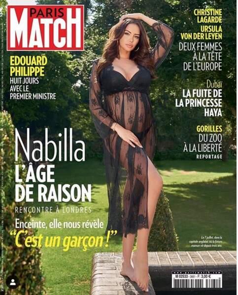 En Une de Paris Match, Nabilla annonce qu'elle attend un garçon