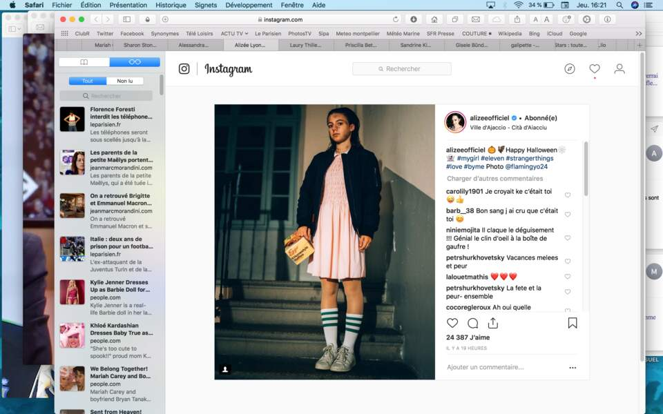 … La fille de notre Alizée nationale prenait la pose dans la peau d'Eleven, héroïne de Stranger Things