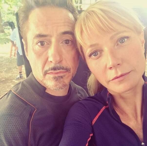 Un couple culte de l'univers comics : Robert Downey Jr et Gwyneth Paltrow, alias Tony Stark et Pepper Potts.