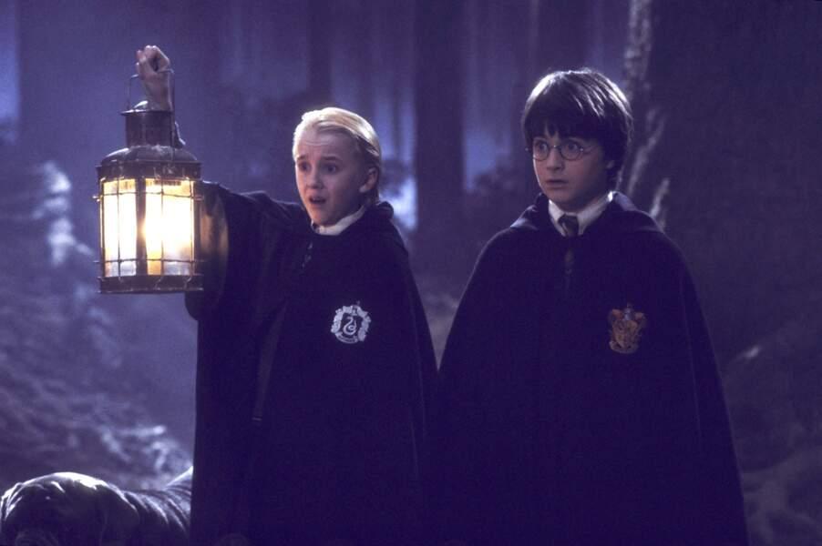 Il y a les amis, mais aussi les ennemis. Et le principal rival d'Harry, c'est Drago Malefoy, joué par Tom Felton.