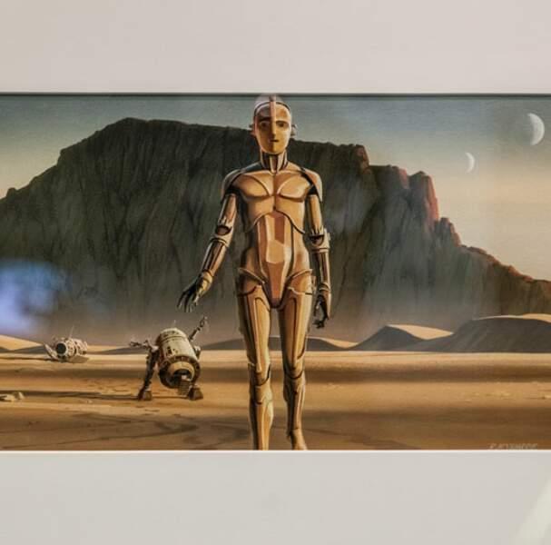 C-3PO et R2-D2 abandonnent le pod dans le désert de Tatooine