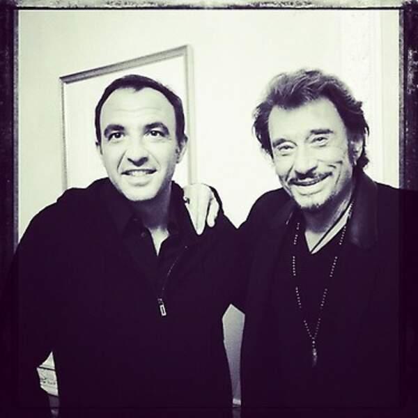 Nikos Aliagas et Johnny Hallyday complices