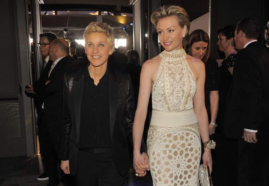 Ellen DeGeneres et son épouse Portia de Rossi quittent le Dolby Theatre. Les Oscars, ça c'est fait