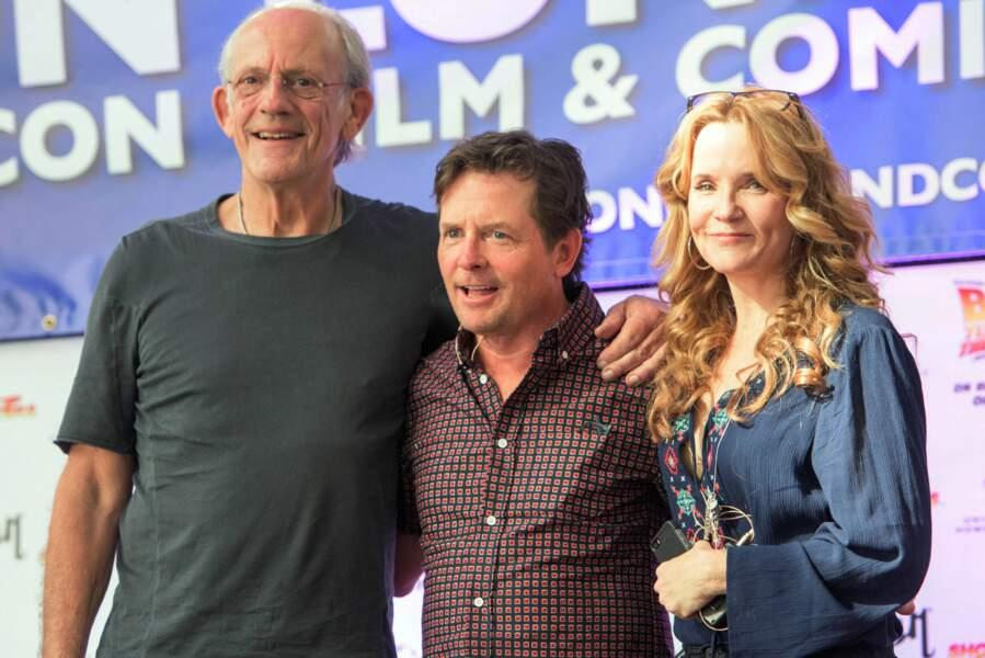 Christopher Lloyd, Michael J Fox et Lea Thompson au Comic Con de Londres en juillet 2015.