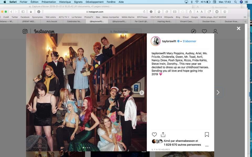 Déguisée en Petite Sirène, Taylor Swift a passé un super réveillon costumé entre potes