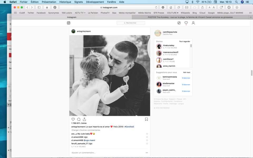Antoine Griezmann a partagé un tendre cliché avec sa fillette