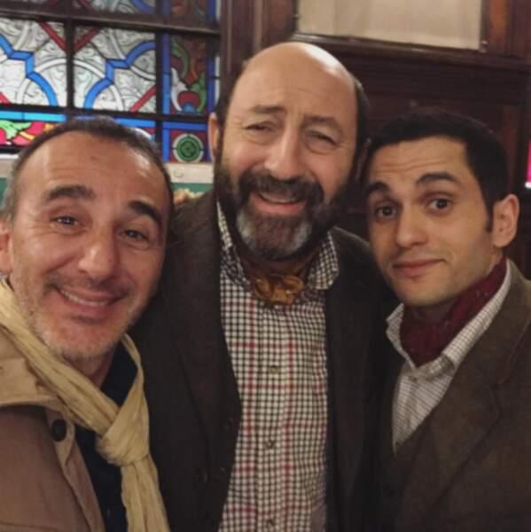 Côté coulisses, Elie Semoun, Kad Merad et Malik Bentahla étaient réunis pour le film Le Doudou.