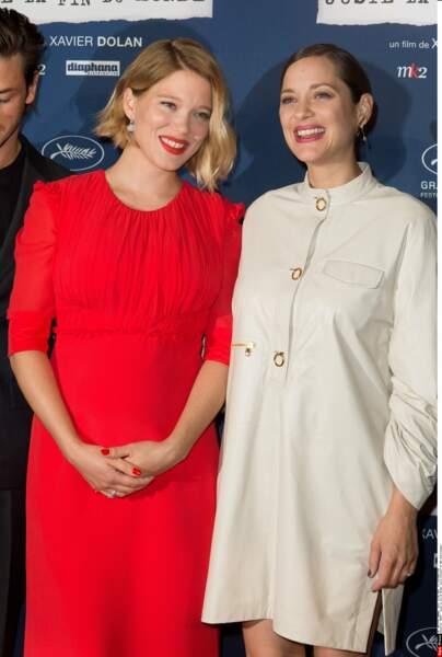 Marion Cotillard et Léa Seydoux lors de la première de Juste la fin du monde: deux actrices épanouies