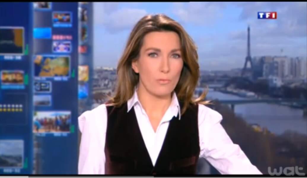 Style masculin pour Anne-Claire Coudray et ce boléro noir