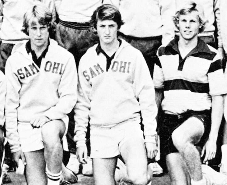Sean Penn au centre avec les membres de son équipe de tennis en 1978
