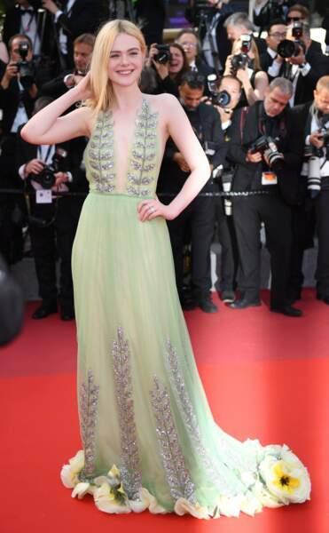 Elle Fanning, dans une robe Gucci très printanière
