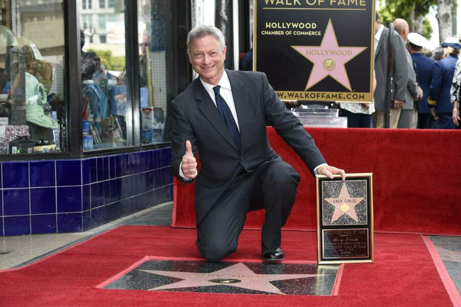Gary Sinise, très fier de son étoile sur le Hollywood Walk of Fame à Los Angeles en avril  2017