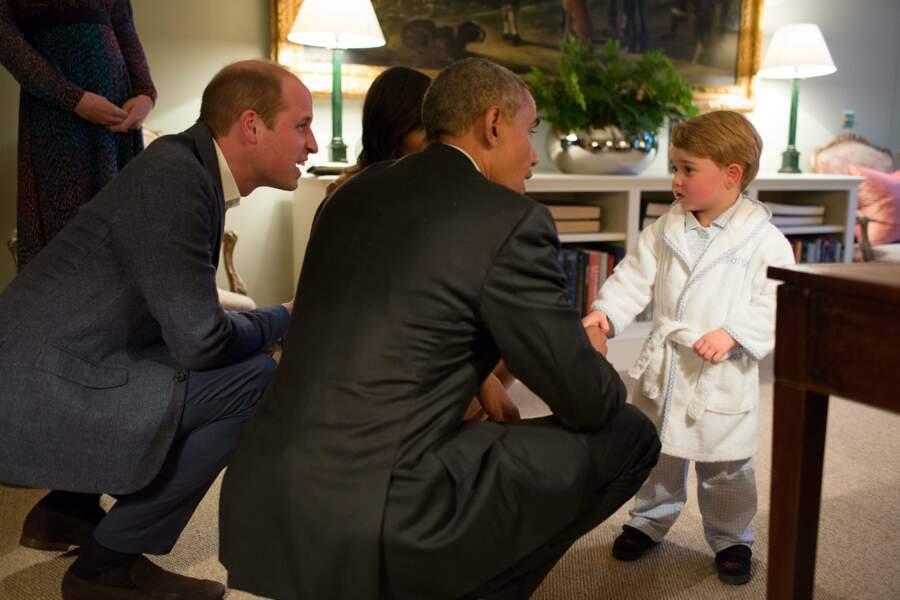 22 avril 2016 : le Président est reçu par Baby George... en peignoir
