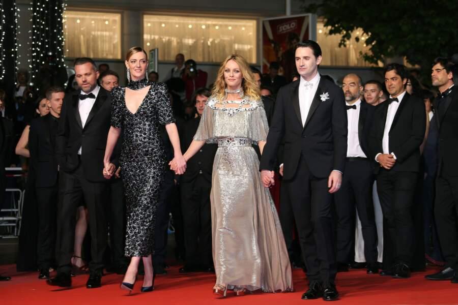 Le réalisateur Yann Gonzalez et ses acteurs Kate Moran, Vanessa Paradis et Nicolas Maury
