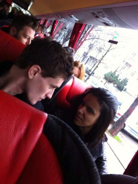 Jean-Baptiste Maunier et Shy'm dans le bus des Enfoirés 2014