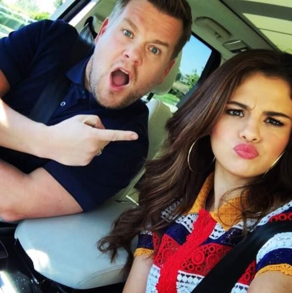 James Corden en compagnie de Selena Gomez