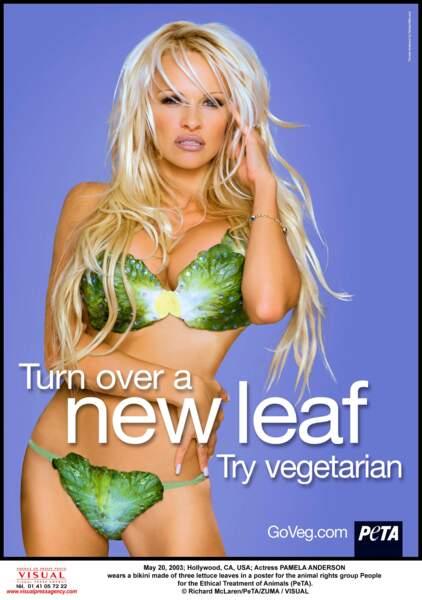 Très tendance, le bikini laitue portée par Pamela Anderson pour la défense des droits des animaux.