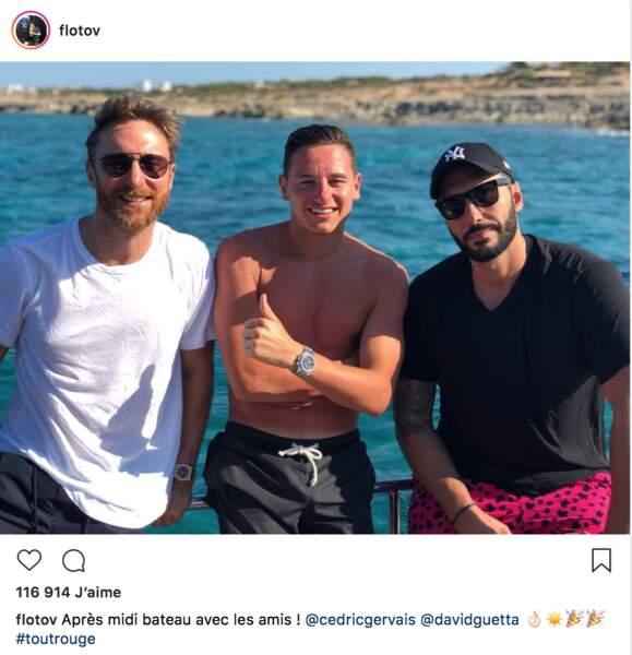 … mais Flo n'oublie pas les amis et a passé l'après-midi avec les DJ David Guetta et Cedric Gervais