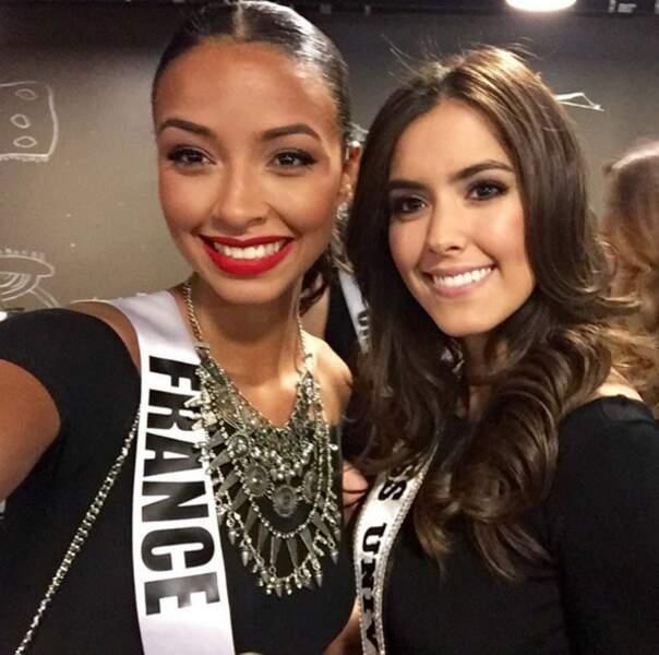 Flora Coquerel avec Paulina Vega Dieppa, miss univers 2014-2015