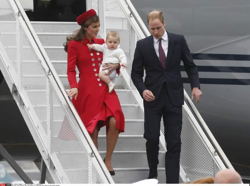 Âgé de 8 mois, George accompagne ses parents pour son premier voyage officiel en Nouvelle Zélande, en avril 2014