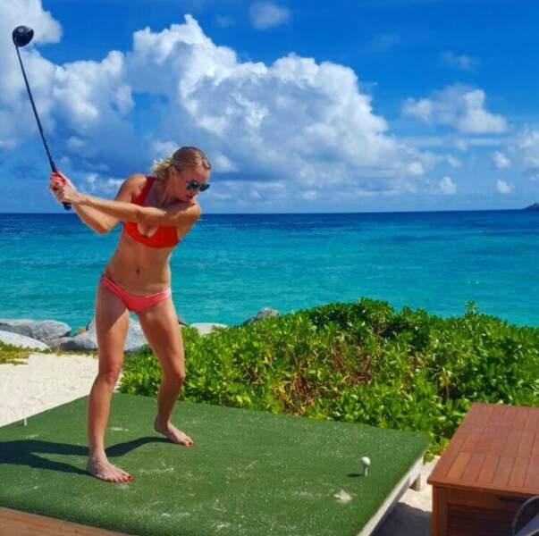Même en vacances, elle ne rate pas une occasion faire du sport