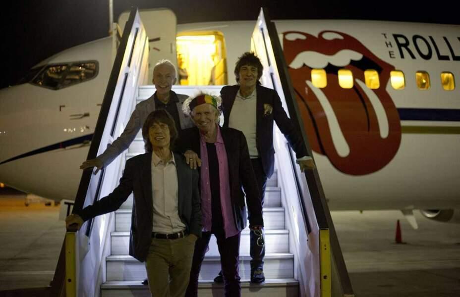 Les Rolling Stones à la sortie de leur avion en Israël le 2 juin 2014