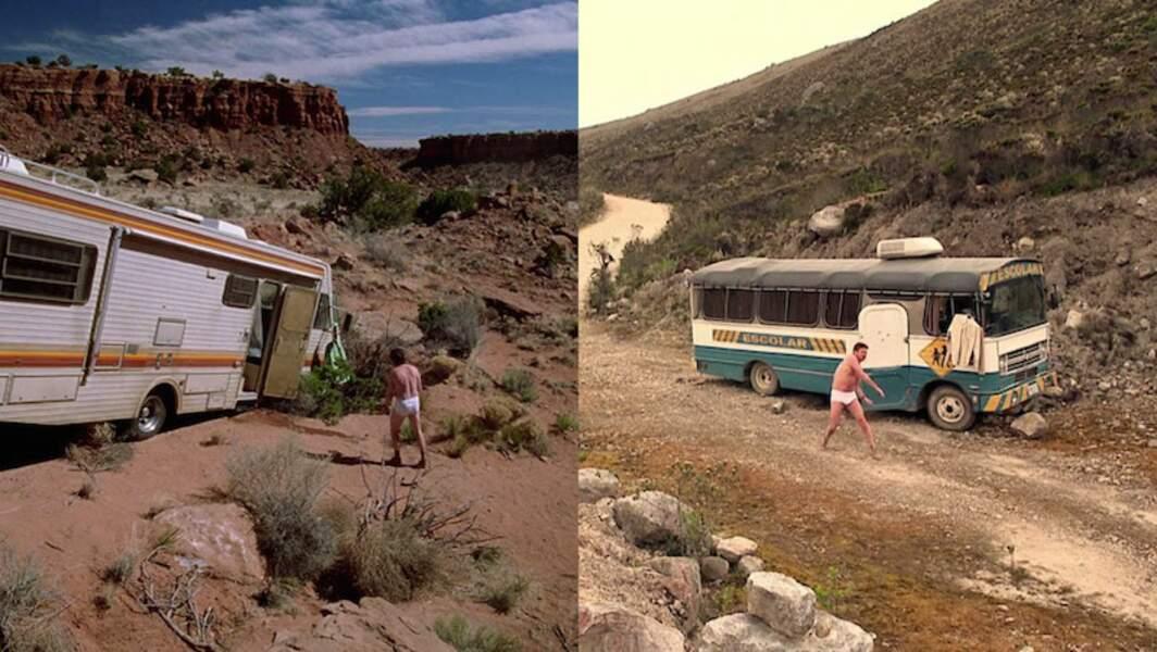 Côté US, un camping car. Côté colombien, un vieux bus scolaire