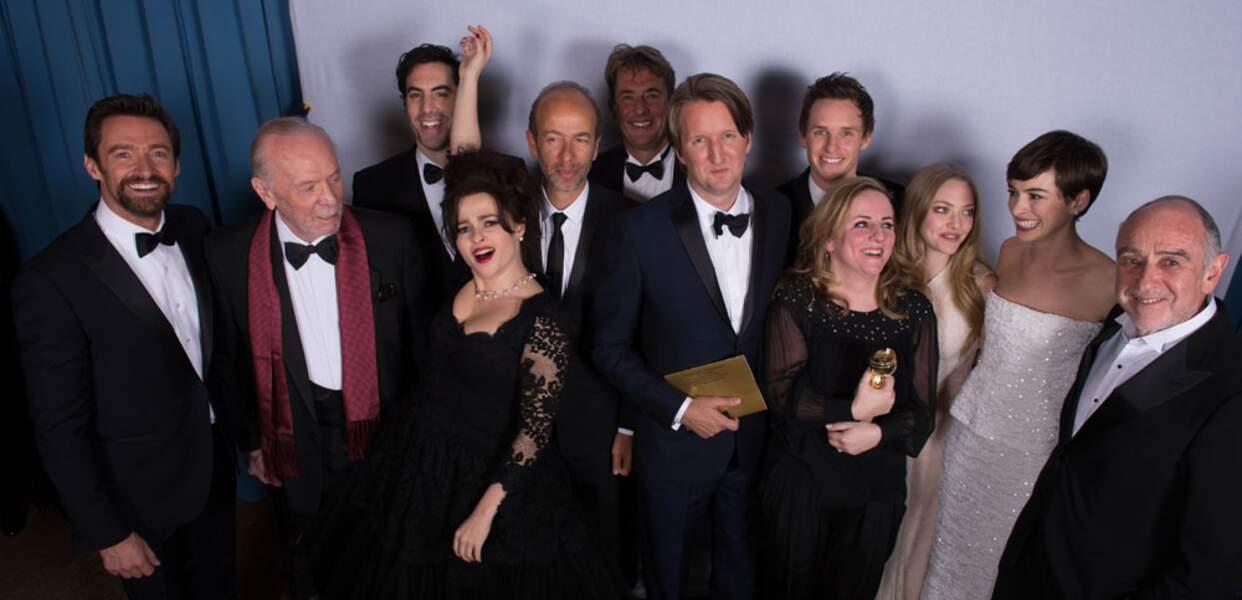 La troupe des Misérables, sacré meilleure comédie, portée par Hugh Jackman et Anne Hathaway tous deux récompensés.