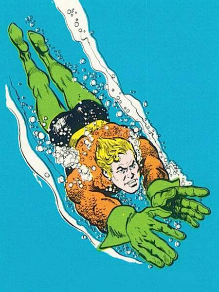 On reconnaît Aquaman à ses collants vers et son torse en écailles orange.