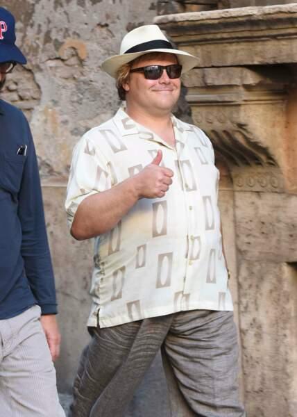 Jack Black visiblement content d'être à Rome sur le tournage de The man who would be Polka King